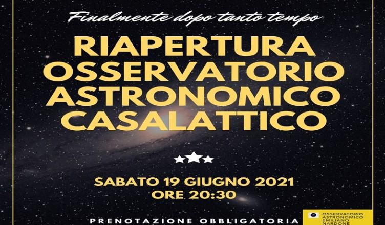 RIAPERTURA OSSERVATORIO CASALATTICO